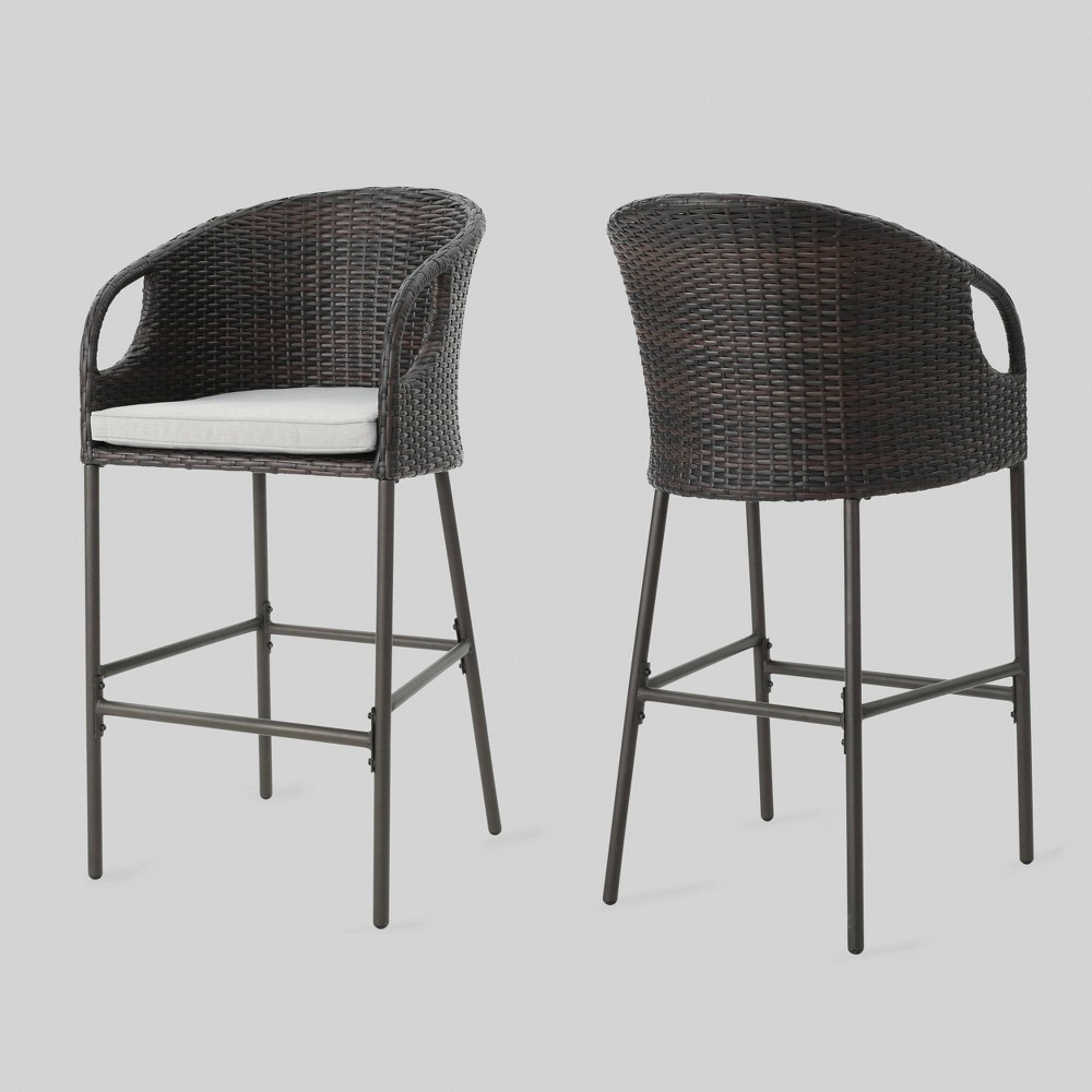 Doinica 2pk Wicker Outdoor Patio Barstool - Brown - Christopher Knight Home