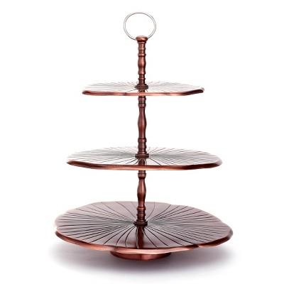 Old Dutch Metal 3-Tier Antique Lily Pad Dessert Server Copper