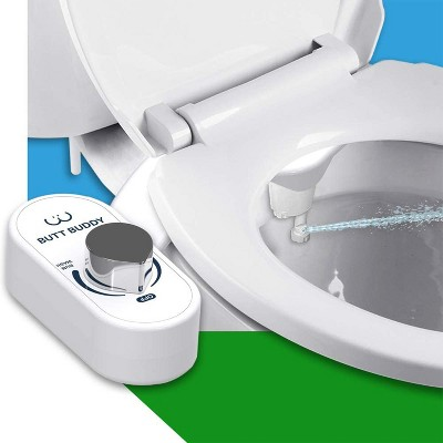 BUTT BUDDY Duo Modern Stainless Steel Fresh Water Bidet Toilet Seat Attachment with Dual Nozzle Feminine Wash, Rear Bum Wash, & Pressure Control