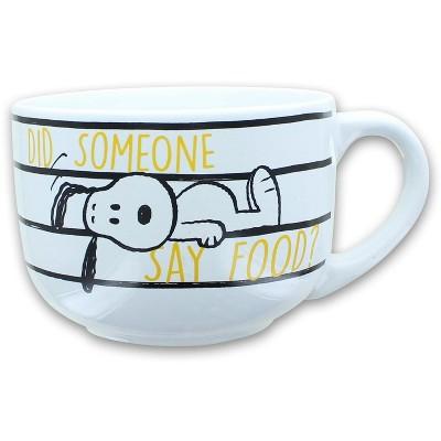 Silver Buffalo Peanuts Snoopy Did Someone Say Food 24oz Ceramic Soup Mug w/ Lid