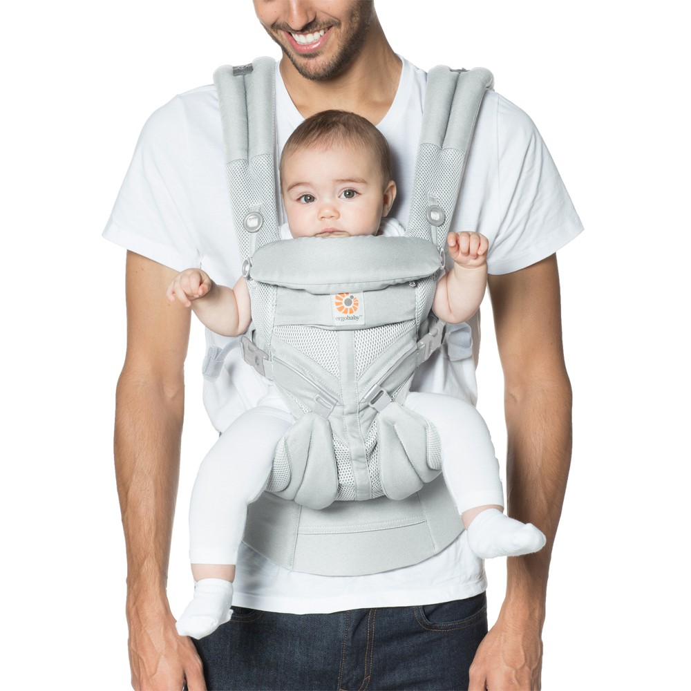 Image of Ergobaby Omni 360 Cool Air Mesh All Carry Positions Baby Carrier - Pearl Gray, White Gray