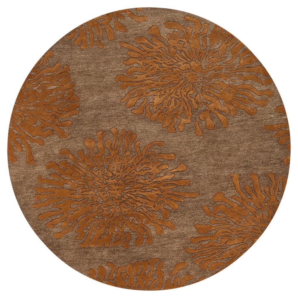 Aelandra Area Rug - Burnt Orange, Camel - (8' Round) - Surya