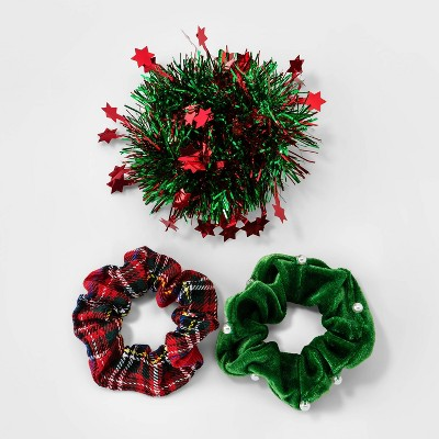 Holiday Novelty Tinsel and Plaid Hair Twisters 3pc - Berry Red
