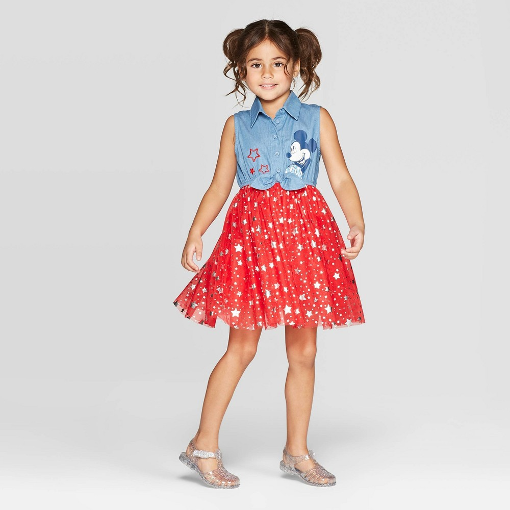Toddler Girls' Mickey Mouse Tie front Tutu Dress - Blue 12M