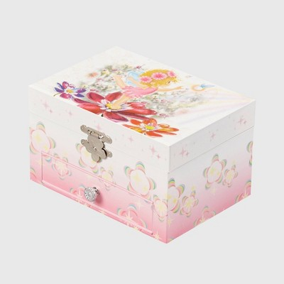 Mele & Co. Ashley Girls' Musical Ballerina Fairy and Flowers Jewelry Box-Pink