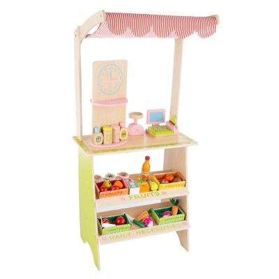 Kids Fresh Market Selling Stand- Wooden Grocery Store Playset with Toy Cash Register, Scale, Pretend Credit Card and 31 Food Accessories by Toy Time