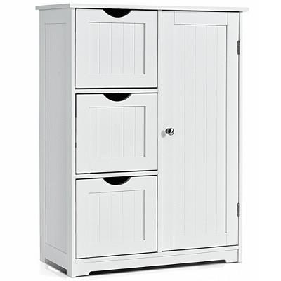 Costway Bathroom Floor Cabinet Side Storage Cabinet with 3 Drawers and 1 Cupboard Grey\ Black
