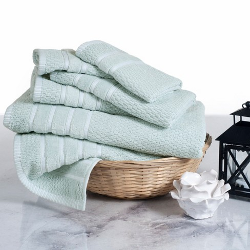 6pc Chevron Bath Towels Sets Sea Foam Green - Yorkshire Home - image 1 of 5