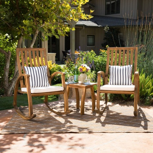 Cayo 3pc Acacia Wood Outdoor Patio Rocking Chair Chat Set - Natural/Cream - Christopher Knight Home - image 1 of 4