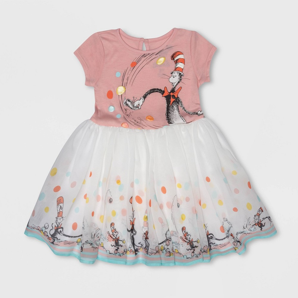 Toddler Girls' Dr. Seuss The Cat in the Hat Skater Dress - Pink/White 4T