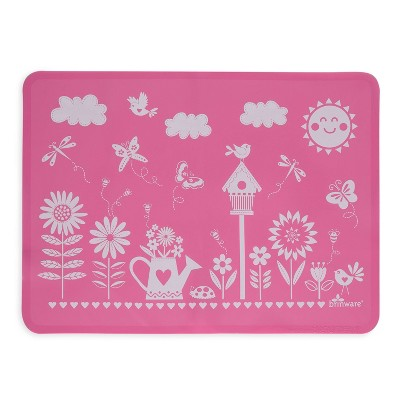 "11"" x 15"" Silicone Garden Party Placemat Pink - Brinware"