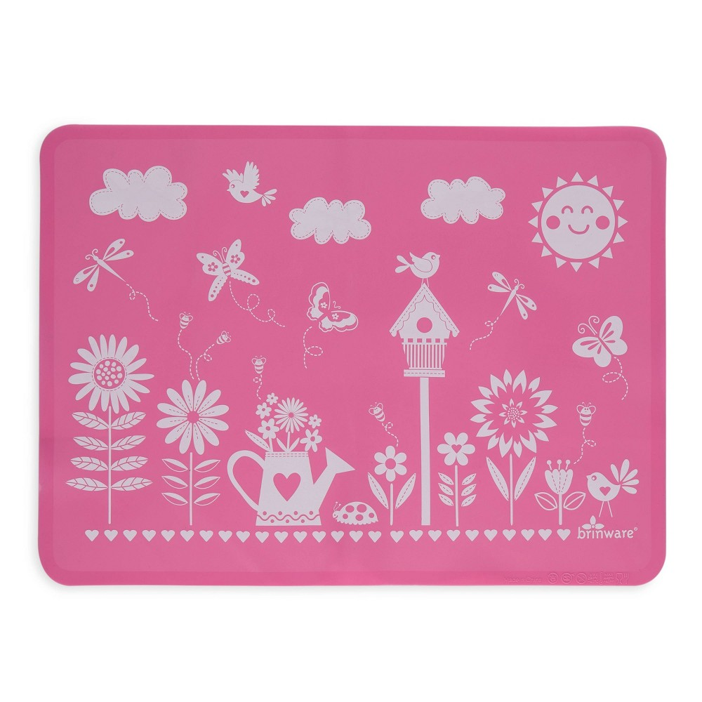 "Image of ""11"""" x 15"""" Silicone Garden Party Placemat Pink - Brinware"""