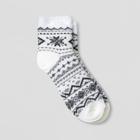 Women's Snowflake Double Lined Cozy Ankle Socks - A New Day™ Ivory 4-10 - image 1 of 1