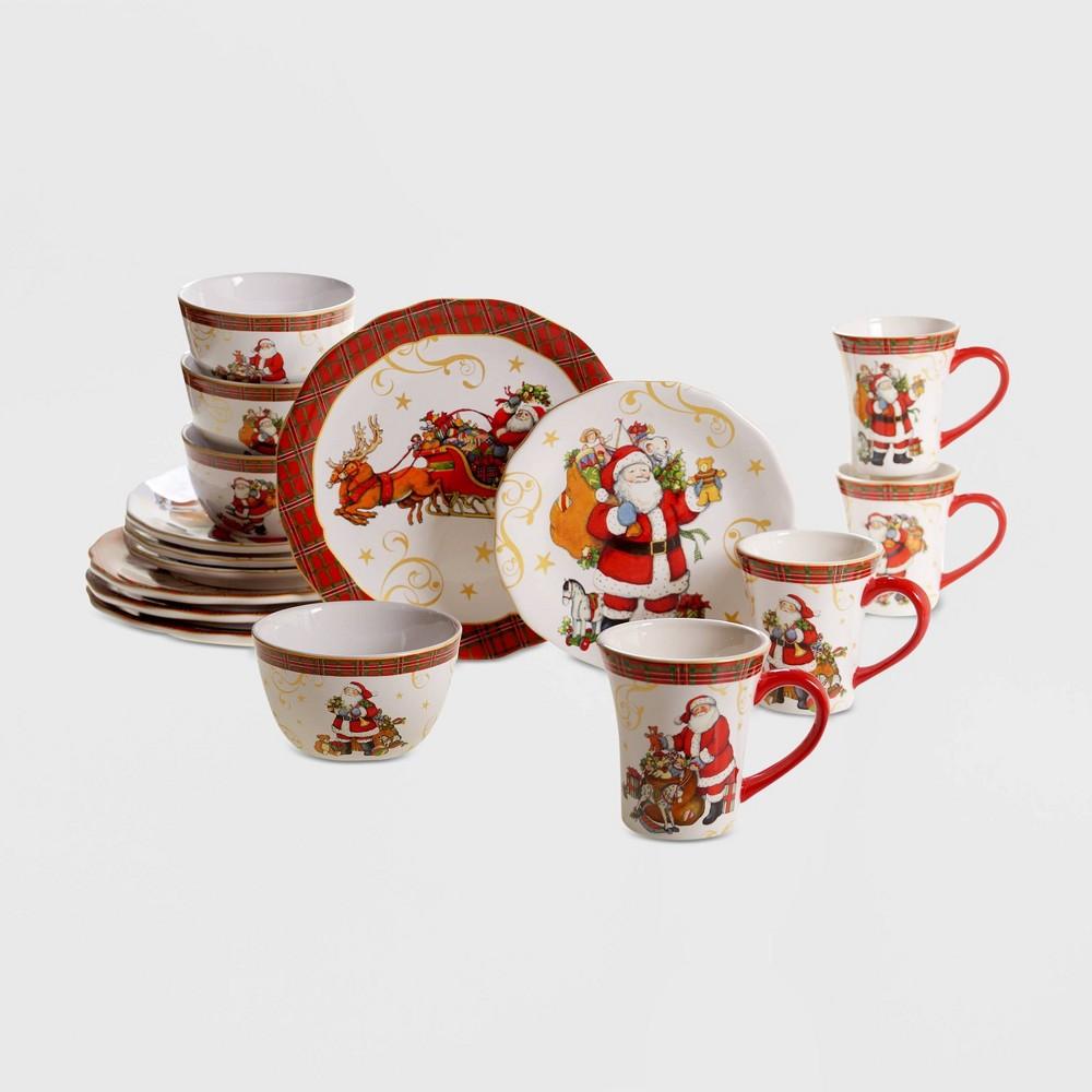 Image of 16pc Earthenware Vintage Santa Dinnerware Set Red - Certified International, White Red
