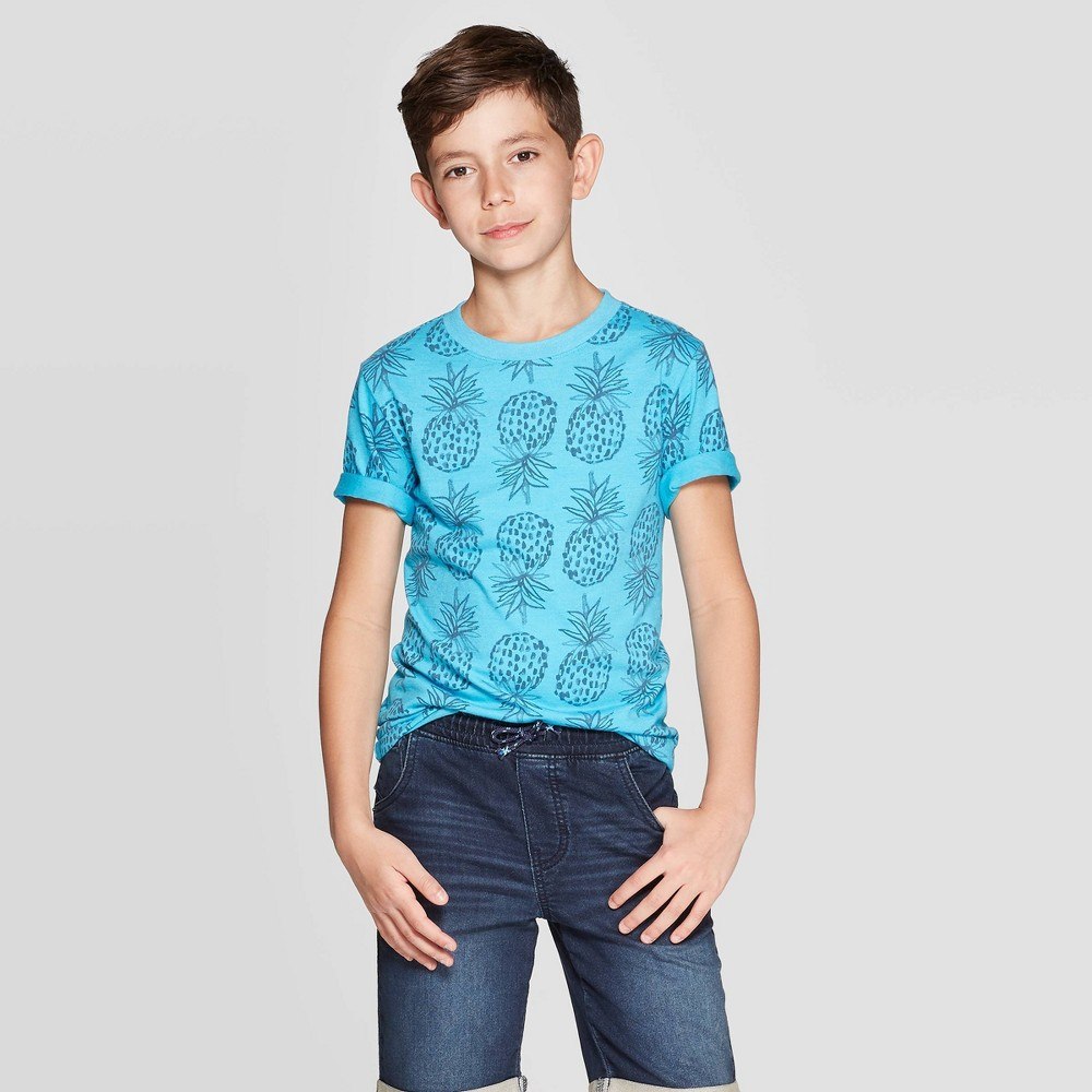 95e873e3 Boys Short Sleeve All Over Print T Shirt Cat Jack Blue XS