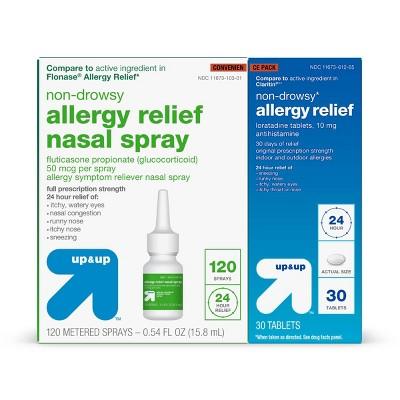 Allergy Convenience Pack - Fluticasone Spray 0.54 fl oz + Loratadine Tablets 30ct - up & up™