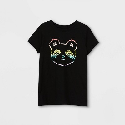 Girls' Rainbow Panda Graphic Short Sleeve T-Shirt - Cat & Jack™ Black