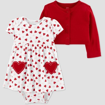 Baby Girls' 2pc Valentine's Day Dress Set - Just One You® made by carter's Red 12M