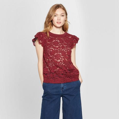 930166078 Women's Short Sleeve Lace T-Shirt - A New Day™ Burgundy M : Target