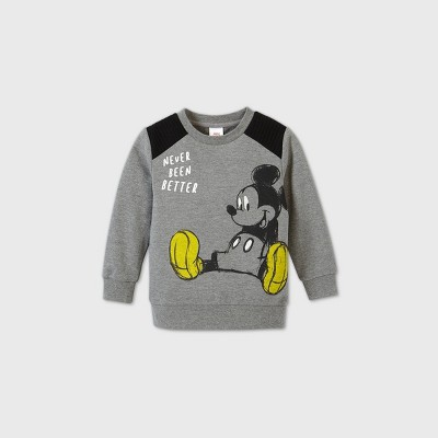 Toddler Boys' Mickey Mouse 'Never Been Better' Moto Crew Neck Sweatshirt - Heather Gray 3T