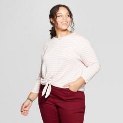 7c07f752404 Women s Plus Size Striped Long Sleeve Tie Front T-Shirt - Ava   Viv™
