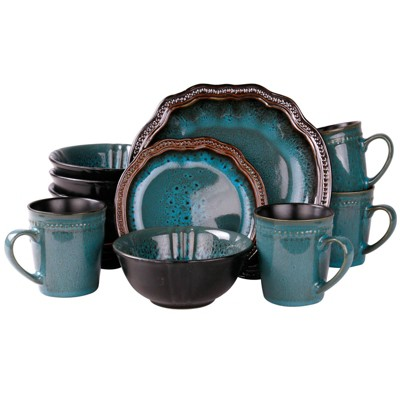 16pc Stoneware Lagoon Dinnerware Set Blue - Elama