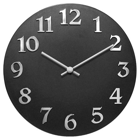 The Vogue Round Wall Clock Black/Silver - Infinity Instruments® - image 1 of 1
