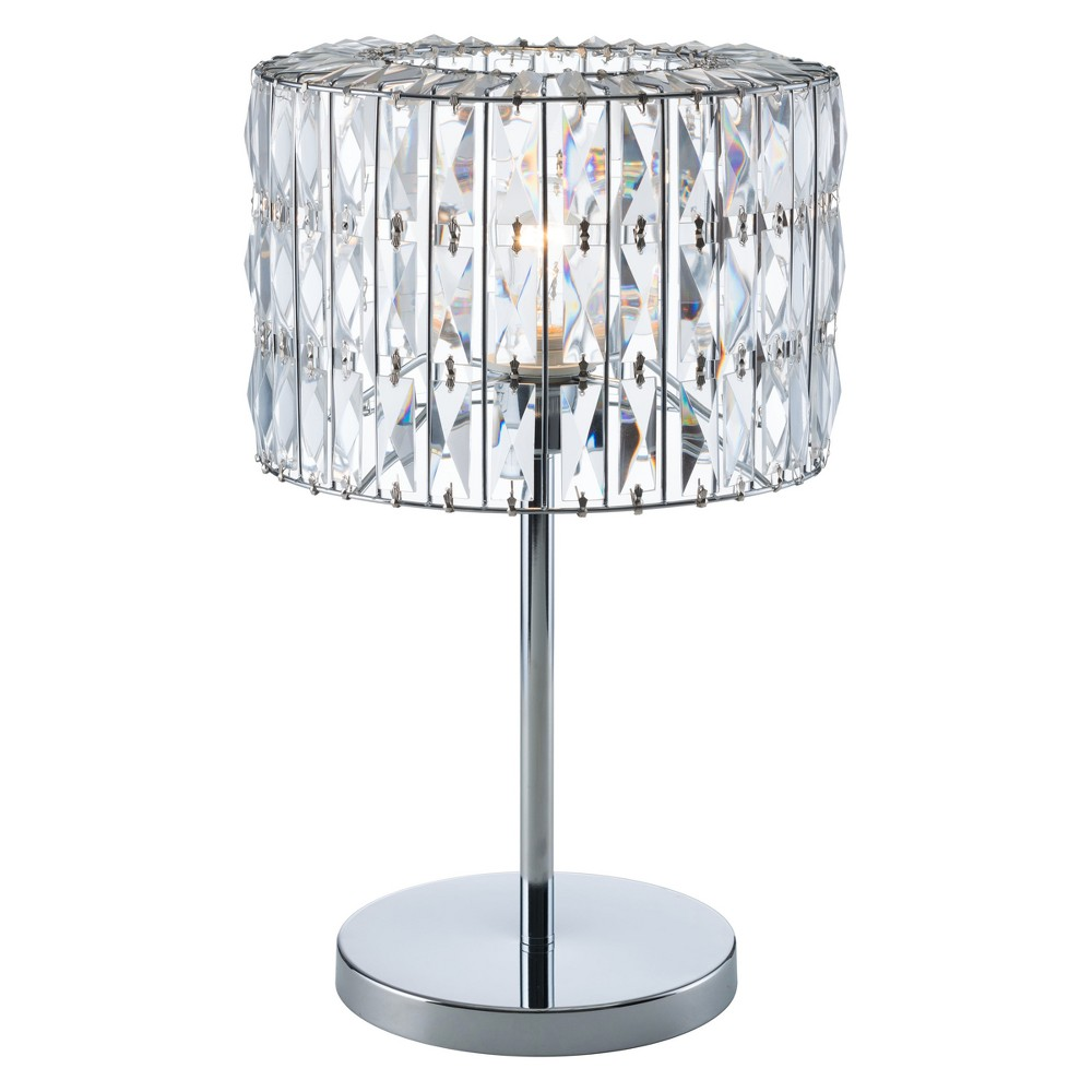 Glam Crystal Shade 20 Table Lamp Chrome (Grey) (Lamp Only) - ZM Home