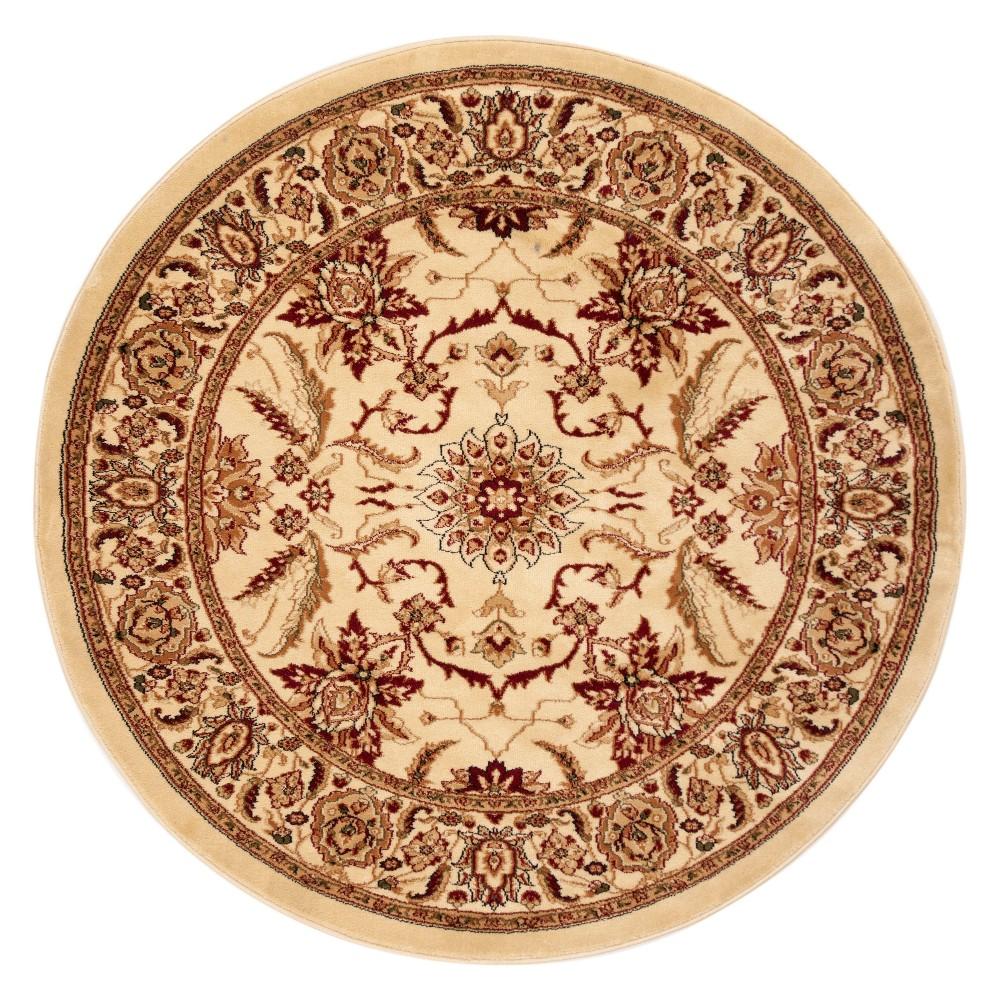 8' Floral Loomed Round Area Rug Ivory - Safavieh