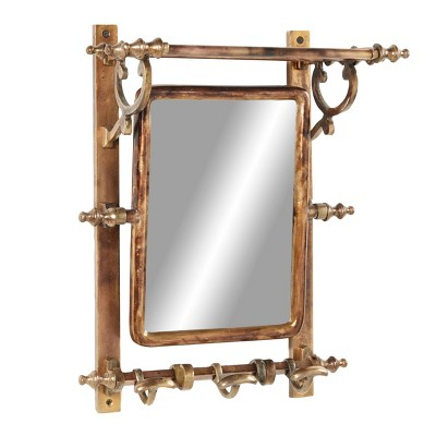 """15"""" x 20"""" Bathroom Wall Rack with Hooks and Rectangular Mirror Brass - Olivia & May"""