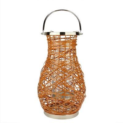 "Northlight 16.25"" Modern Orange Decorative Woven Iron Pillar Candle Lantern with Glass Hurricane"
