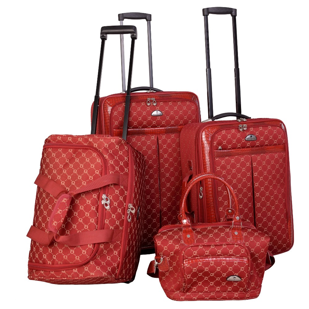 Image of American Flyer Signature 4pc Softside Luggage Set - Red