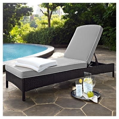 Palm Harbor Outdoor Wicker Chaise Lounge In Brown with Gray Cushions - Crosley