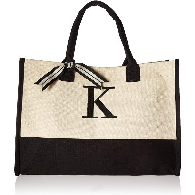 "Mud Pie Classic Canvas Initial Tote Bags , 100% Cotton, 17"" x 19"" x 2"", Black and White"