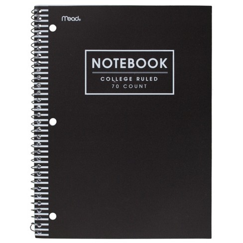 d3e5435656ed Mead 1 Subject College Ruled Spiral Notebook Black