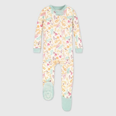 Burt's Bees Baby® Baby Girls' Organic Cotton Trail Treasures Footed Pajama - Cream/Green 12M