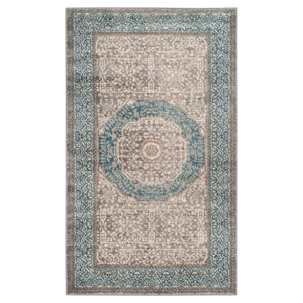 Light Gray/Blue Abstract Loomed Accent Rug - (4'x5'7) - Safavieh