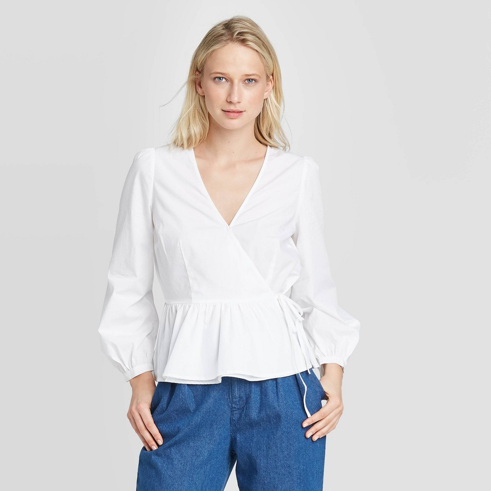 Women's Long Sleeve Wrapped Peplum Top - Who What Wear White XS, Women's was $29.99 now $20.99 (30.0% off)