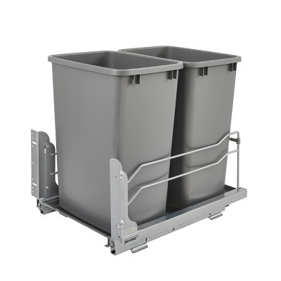 Rev-A-Shelf 53WC-1835SCDM-217 Double 35-Quart Pull-Out Under Mount Kitchen Waste Container Trash Cans with Soft-Close Slides, Silver
