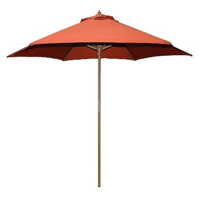 9' Round Wood Patio Umbrella - Rust
