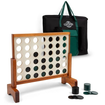 Lancaster Jumbo Size 3ft 4-In-A-Row Wooden Outdoor Game Set with Carry Bag