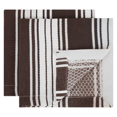 2pk Striped Dish Cloth Brown - Mu Kitchen