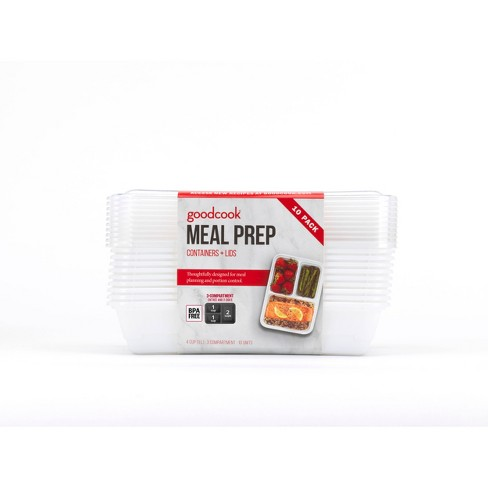 GoodCook Meal Prep 3 Compartment Rectangle White Containers + Lids - 10ct - image 1 of 4
