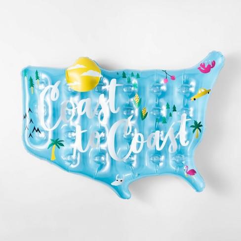 Coast to Coast Map Pool Float Blue - Sun Squad™ - image 1 of 3