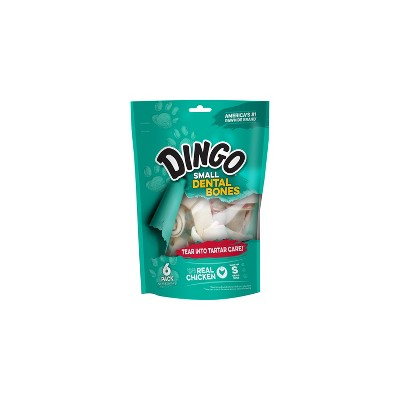 Dingo Small Dental Bones 6 Count, Rawhide Chews For Dogs, Natural Chewing Action Helps Clean Teeth