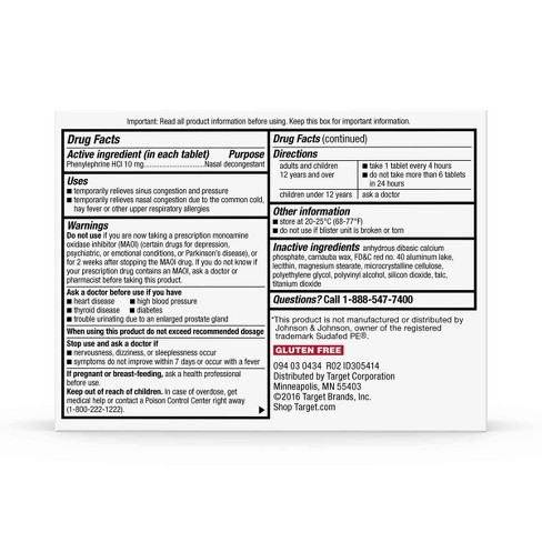 Sinus PE Non-Drowsy Congestion Relief Tablets - (Compare to Sudafed PE  Congestion) - 36ct - Up&Up™