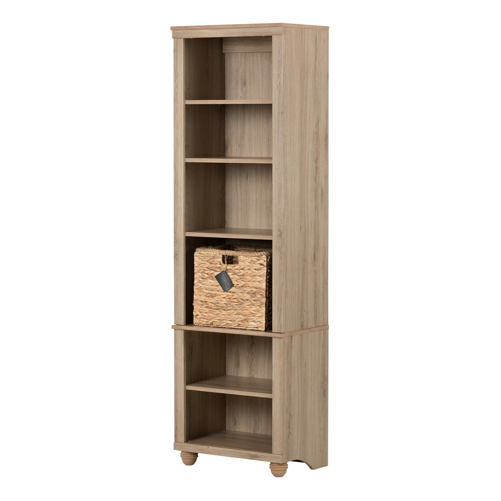 71 Hopedale Narrow 6 - Shelf Bookcase with Rattan Basket - Rustic Oak (Brown) and Beige - South Shore