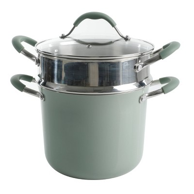Cravings by Chrissy Teigen 6qt Aluminum Stock Pot with Stainless Steel Steamer Insert - Pistachio