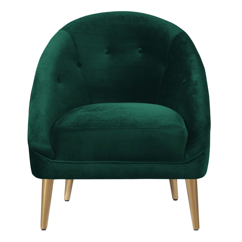 Taryn Accent Chair Dark Emerald - Picket House Furnishings The Picket House Furnishings Taryn Accent Chair will instantly add a dash of luxury to your home, no matter where you decide to display this gem of a chair! This accent chair comes in a rich, velvet fabric in a gorgeous jewel tone color; giving your home an instant luxury vibe. The gold stainless tapered legs are classic, modern style and make it easy to match with any existing decor. Color: Dark Emerald. Gender: Unisex.
