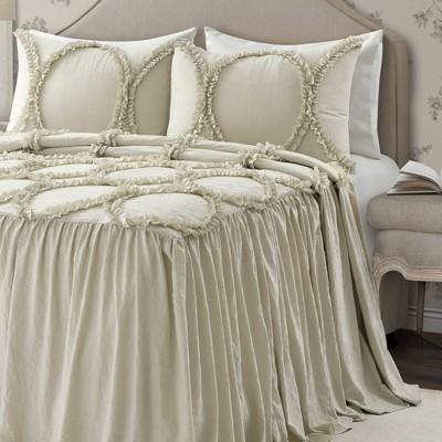 King 3pc Riviera Bedspread Set Neutral - Lush Décor